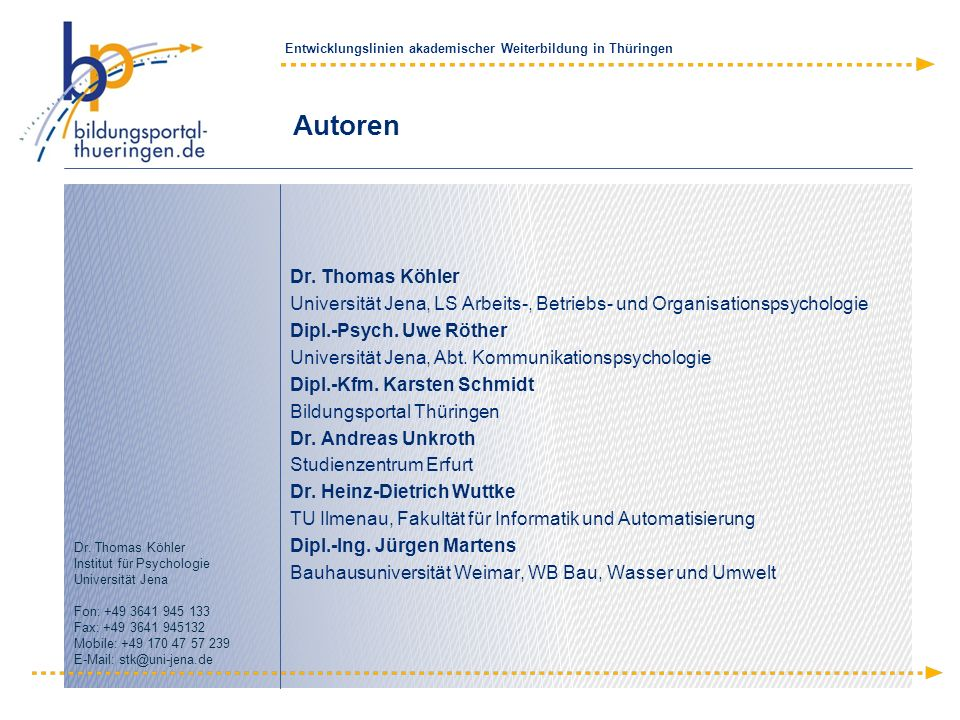 Autoren Dr. Thomas Köhler