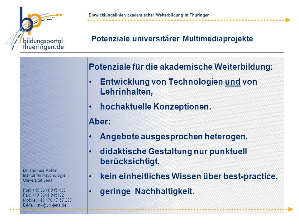 Potenziale universitärer Multimediaprojekte