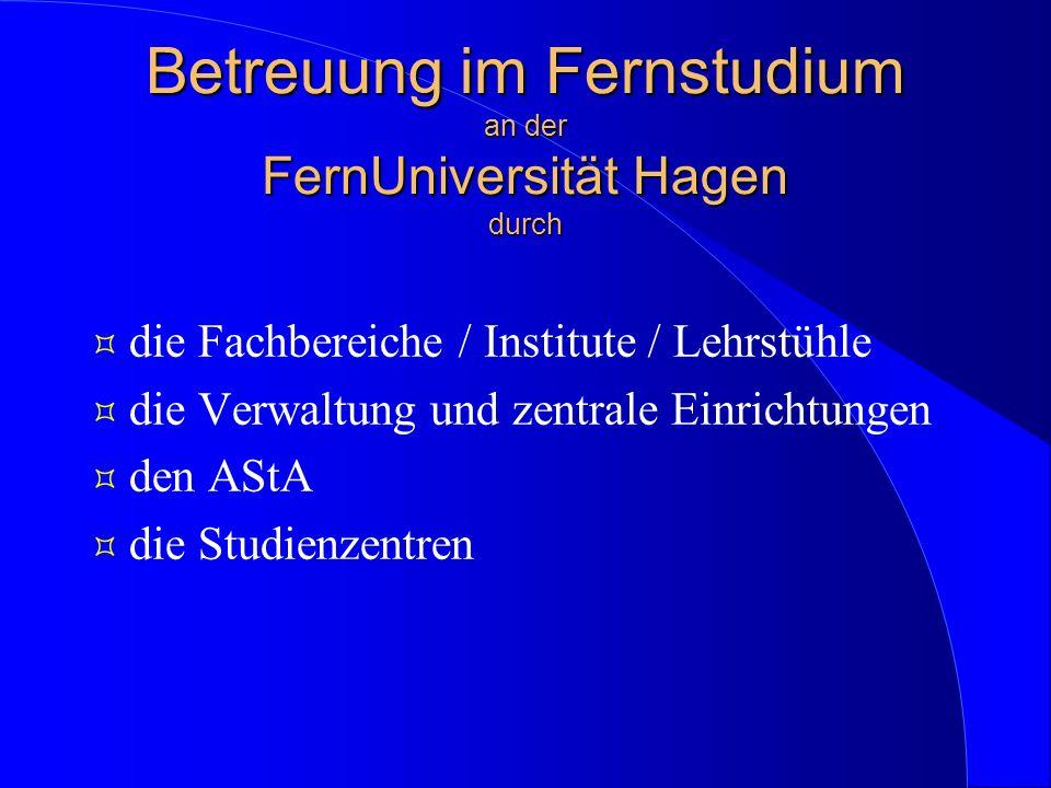 Betreuung im Fernstudium an der FernUniversität Hagen durch