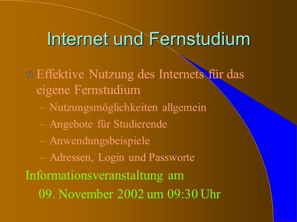Internet und Fernstudium