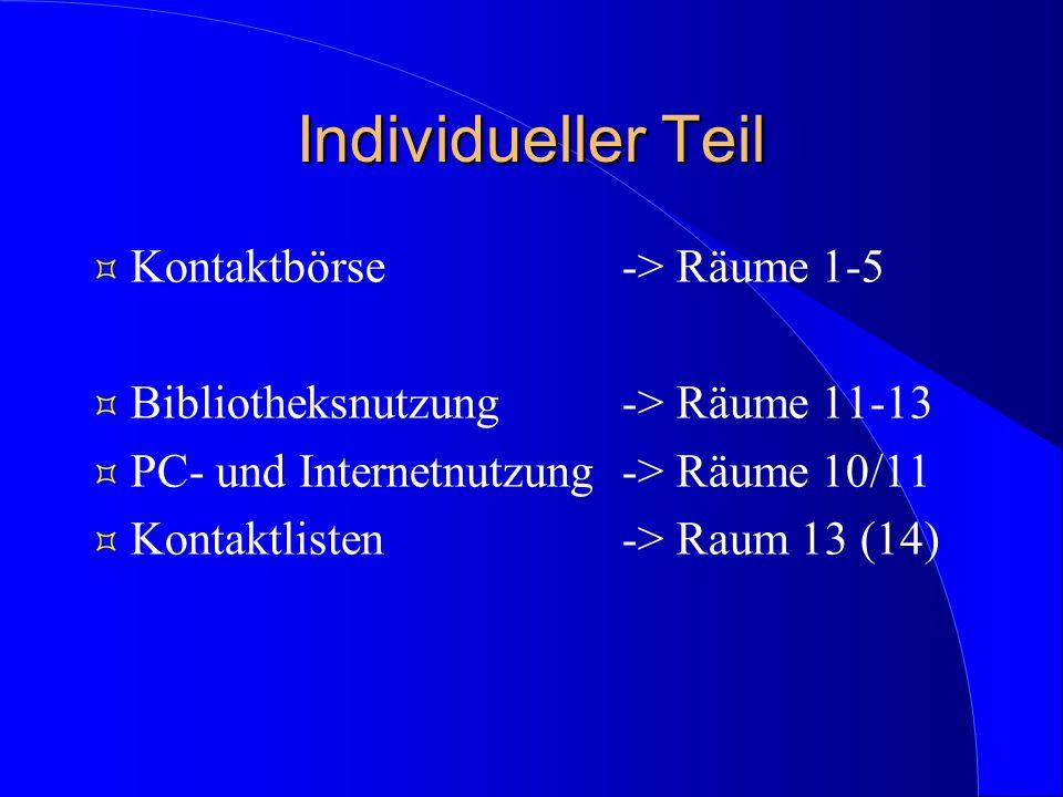Individueller Teil Kontaktbörse -> Räume 1-5