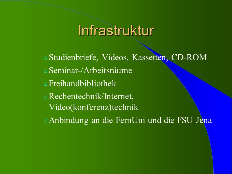 Infrastruktur Studienbriefe, Videos, Kassetten, CD-ROM