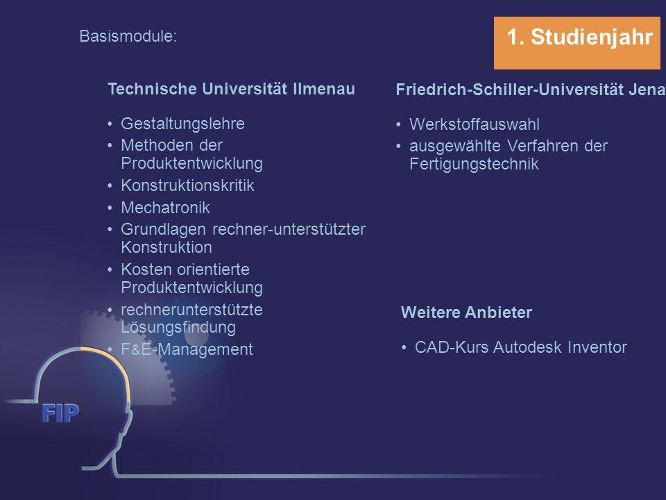 1. Studienjahr Basismodule: Technische Universität Ilmenau