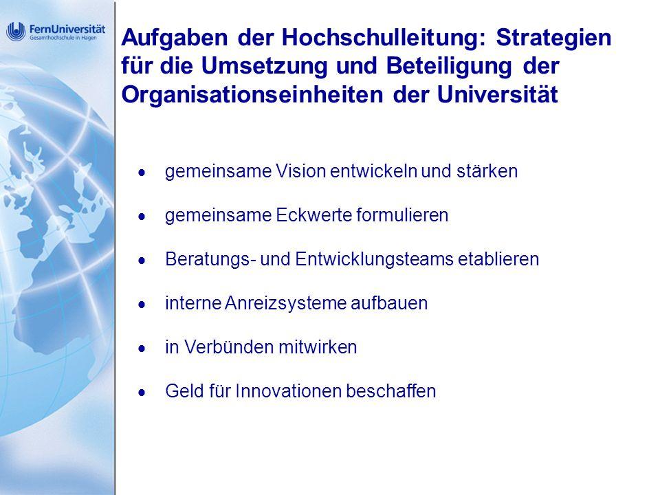 Aufgaben der Hochschulleitung: Strategien für die Umsetzung und Beteiligung der Organisationseinheiten der Universität