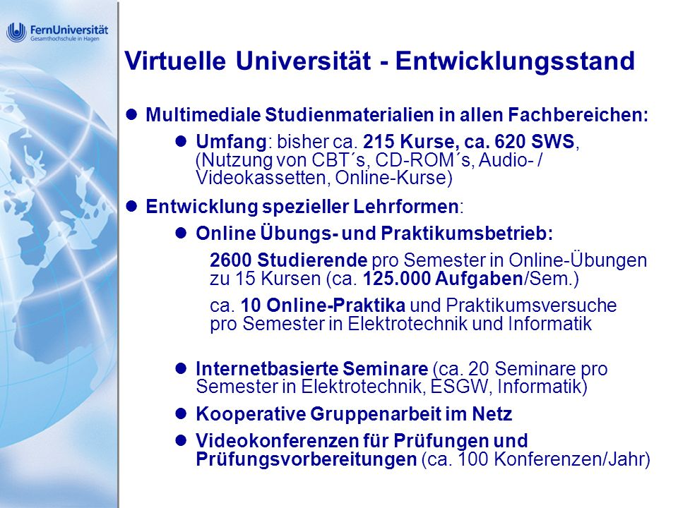 Virtuelle Universität - Entwicklungsstand