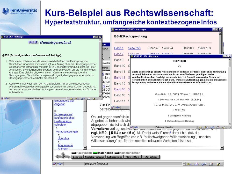 Kurs-Beispiel aus Rechtswissenschaft: Hypertextstruktur, umfangreiche kontextbezogene Infos