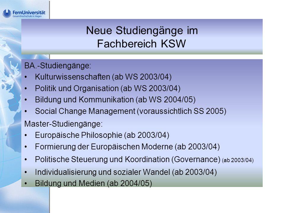 Neue Studiengänge im Fachbereich KSW