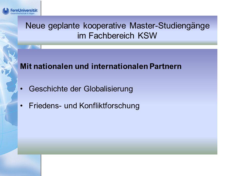 Neue geplante kooperative Master-Studiengänge im Fachbereich KSW