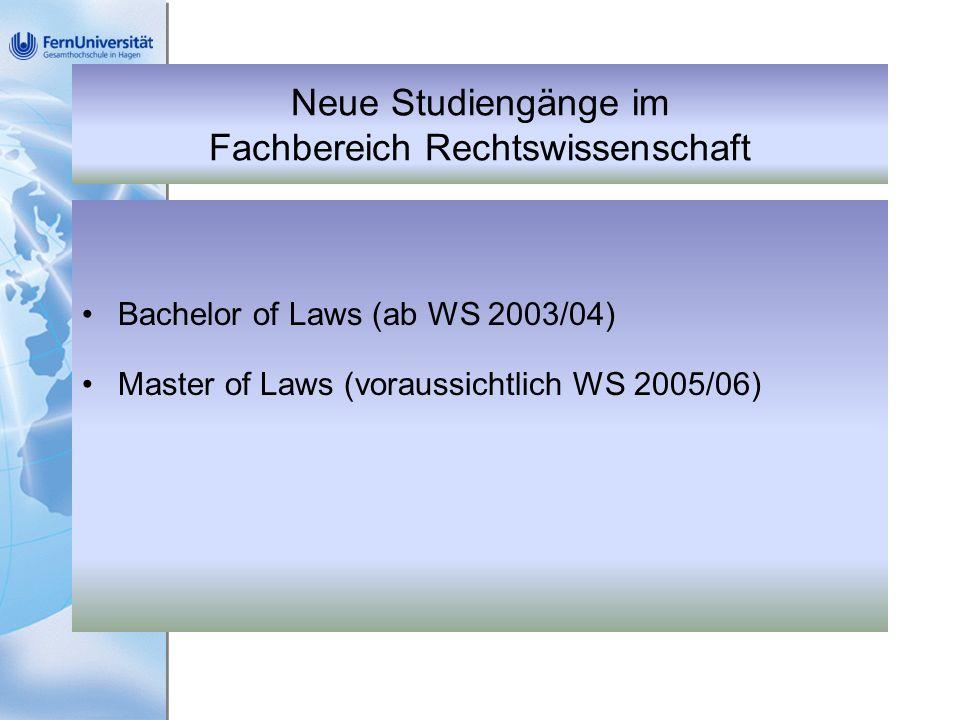 Neue Studiengänge im Fachbereich Rechtswissenschaft