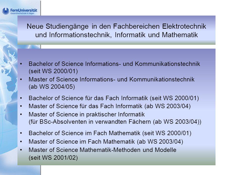 Neue Studiengänge in den Fachbereichen Elektrotechnik und Informationstechnik, Informatik und Mathematik