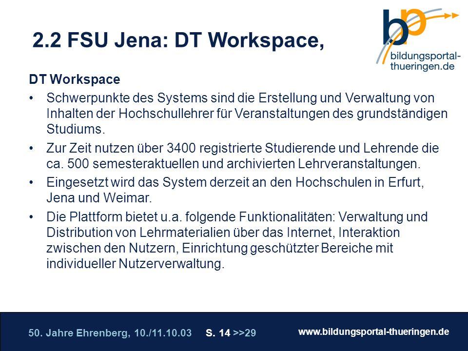 2.2 FSU Jena: DT Workspace, DT Workspace