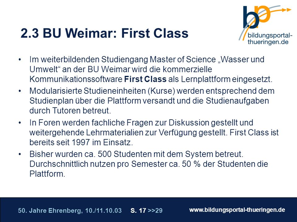 2.3 BU Weimar: First Class