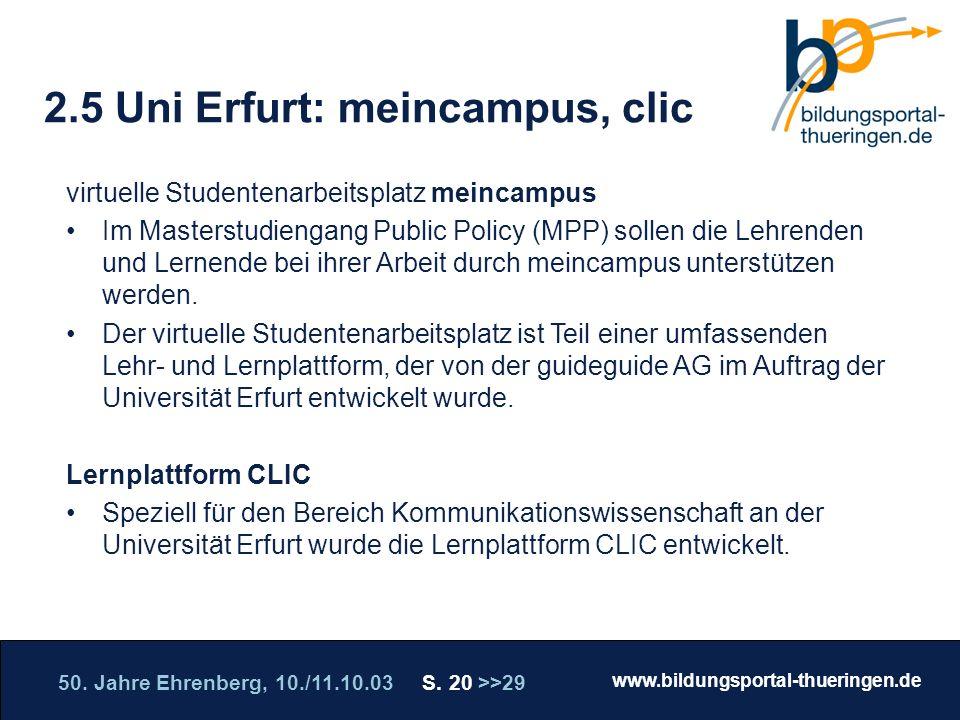 2.5 Uni Erfurt: meincampus, clic