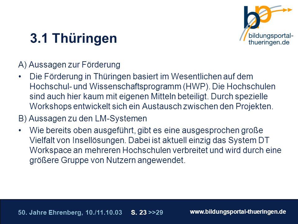 3.1 Thüringen A) Aussagen zur Förderung