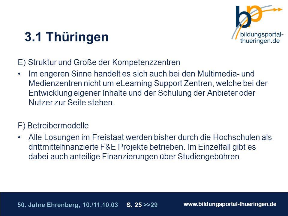 3.1 Thüringen E) Struktur und Größe der Kompetenzzentren