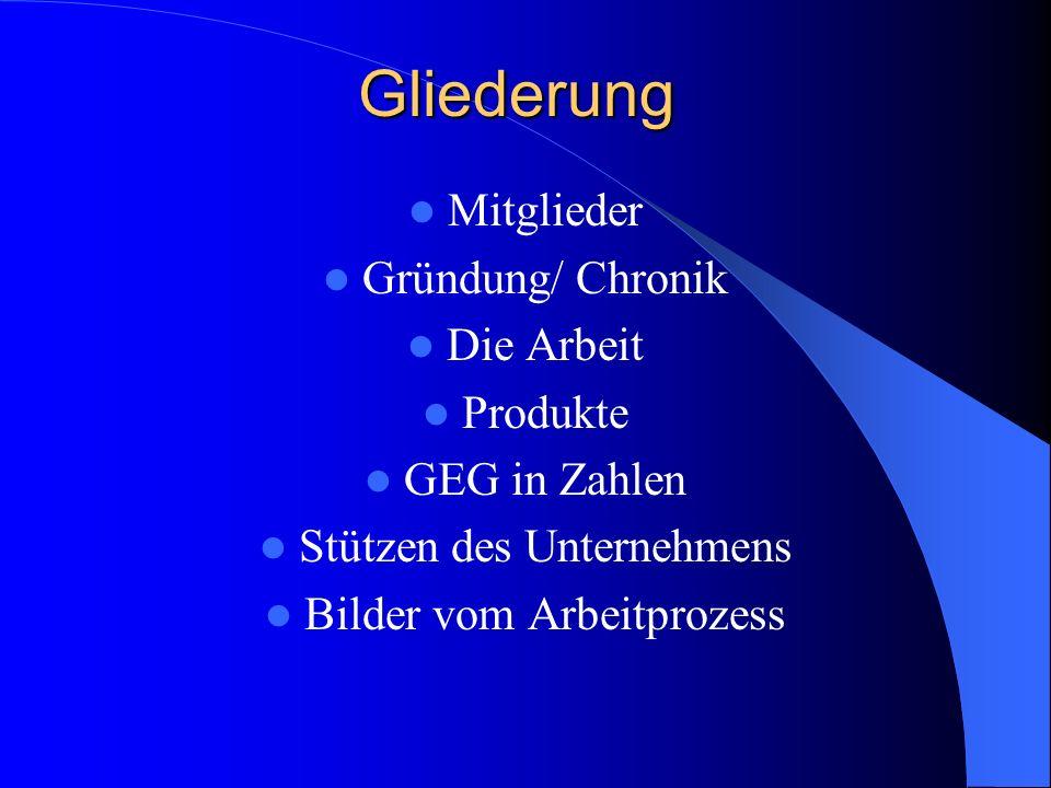 Gliederung Mitglieder Gründung/ Chronik Die Arbeit Produkte