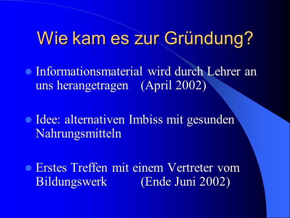 Wie kam es zur Gründung Informationsmaterial wird durch Lehrer an uns herangetragen (April 2002)