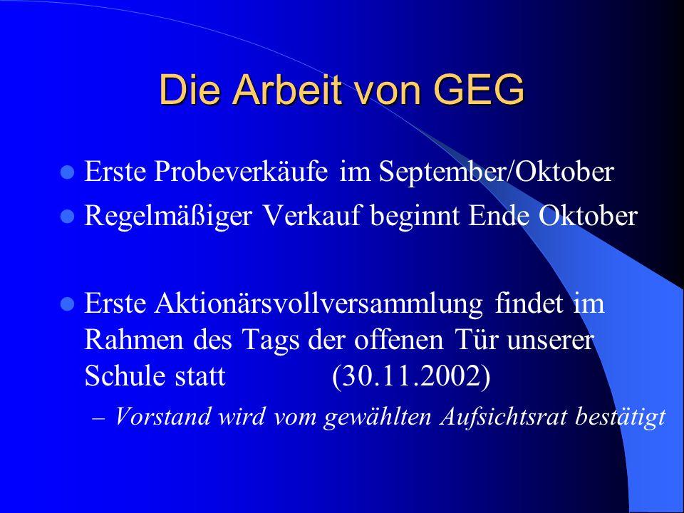 Die Arbeit von GEG Erste Probeverkäufe im September/Oktober