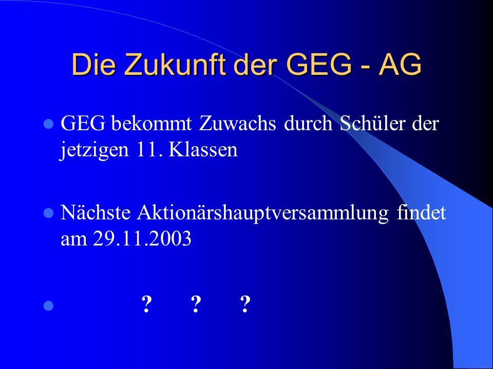 Die Zukunft der GEG - AG GEG bekommt Zuwachs durch Schüler der jetzigen 11. Klassen. Nächste Aktionärshauptversammlung findet am 29.11.2003.