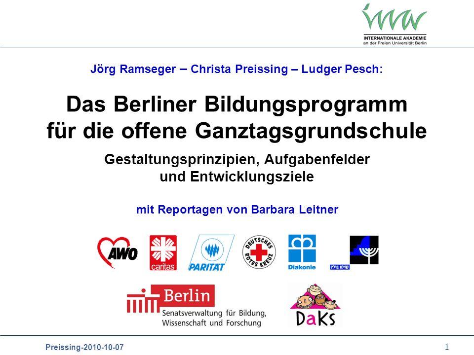 Das Berliner Bildungsprogramm für die offene Ganztagsgrundschule