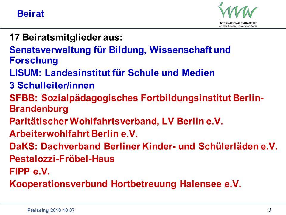 Beirat 17 Beiratsmitglieder aus: Senatsverwaltung für Bildung, Wissenschaft und Forschung. LISUM: Landesinstitut für Schule und Medien.