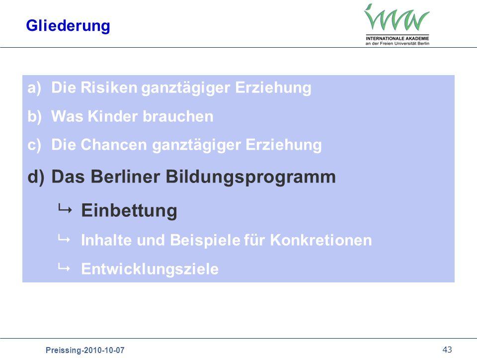 Das Berliner Bildungsprogramm Einbettung