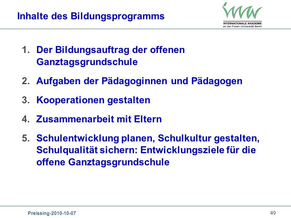 Inhalte des Bildungsprogramms