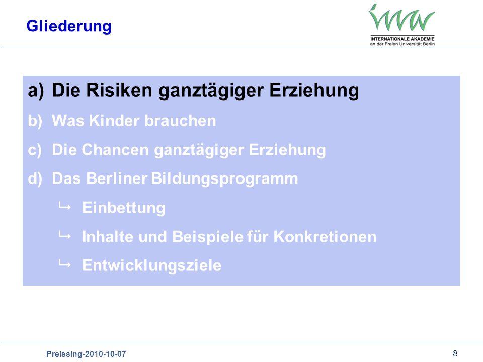 Die Risiken ganztägiger Erziehung