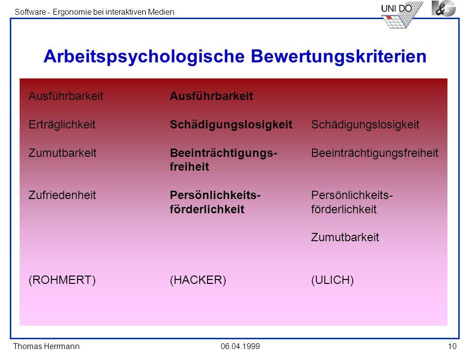 Arbeitspsychologische Bewertungskriterien