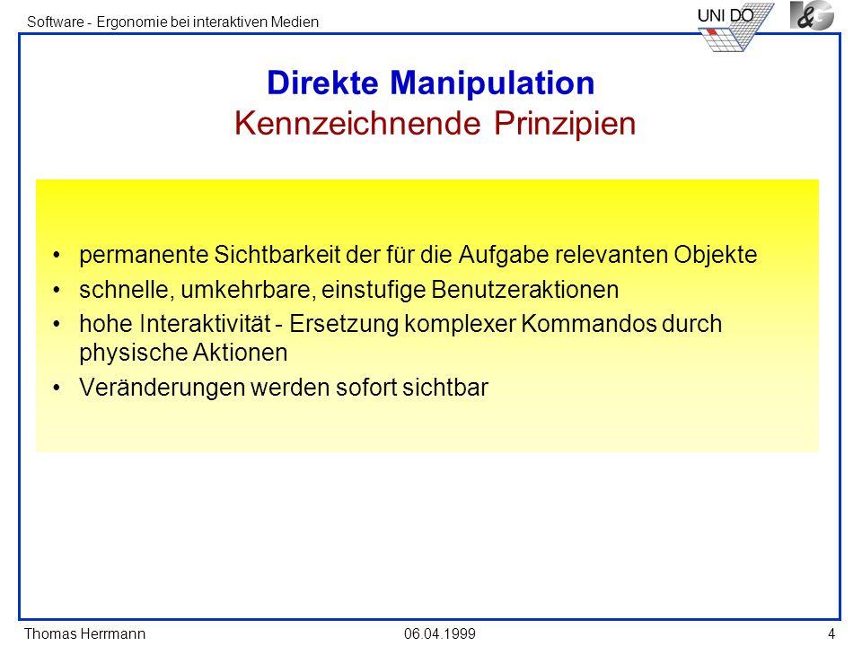 Direkte Manipulation Kennzeichnende Prinzipien