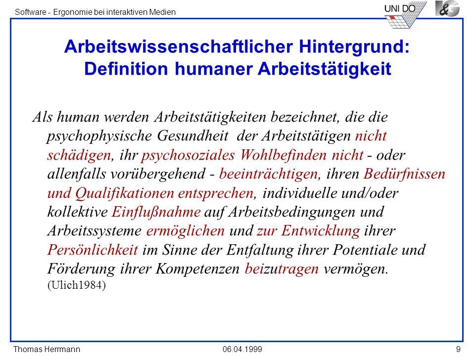 Arbeitswissenschaftlicher Hintergrund: Definition humaner Arbeitstätigkeit