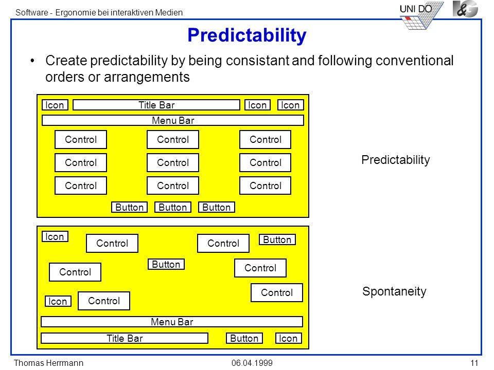 Predictability Create predictability by being consistant and following conventional orders or arrangements.