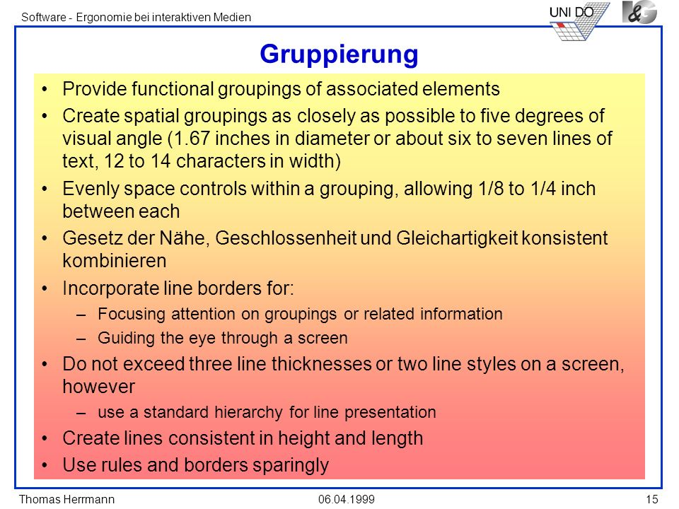 Gruppierung Provide functional groupings of associated elements