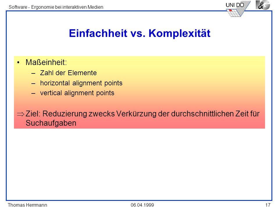 Einfachheit vs. Komplexität