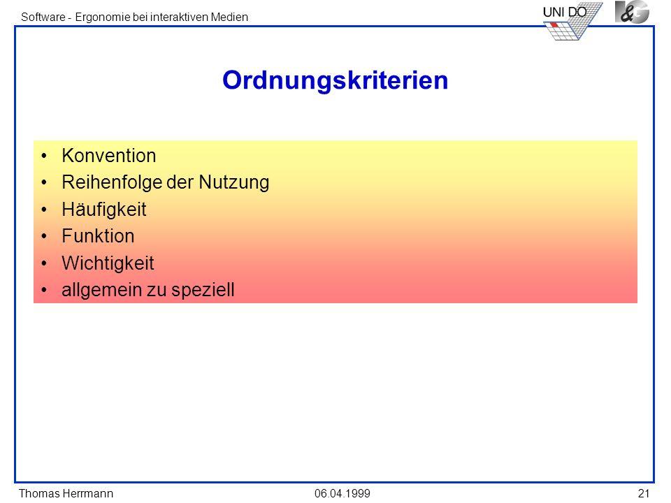 Ordnungskriterien Konvention Reihenfolge der Nutzung Häufigkeit