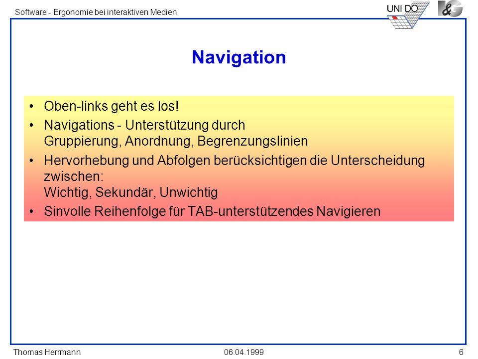 Navigation Oben-links geht es los!