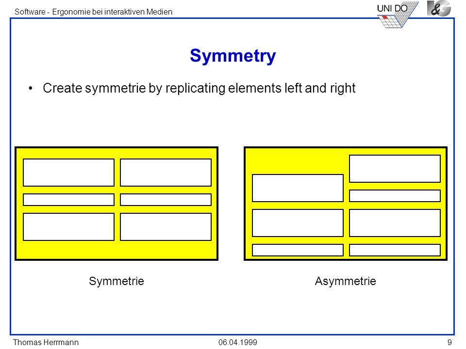 Symmetry Create symmetrie by replicating elements left and right
