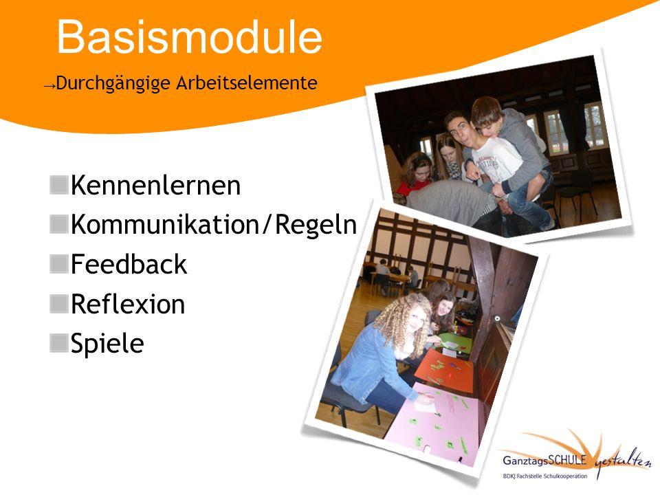 Basismodule Kennenlernen Kommunikation/Regeln Feedback Reflexion