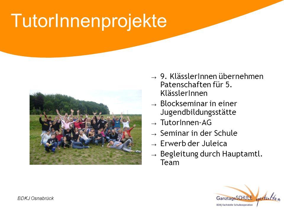 TutorInnenprojekte 9. KlässlerInnen übernehmen Patenschaften für 5. KlässlerInnen. Blockseminar in einer Jugendbildungsstätte.