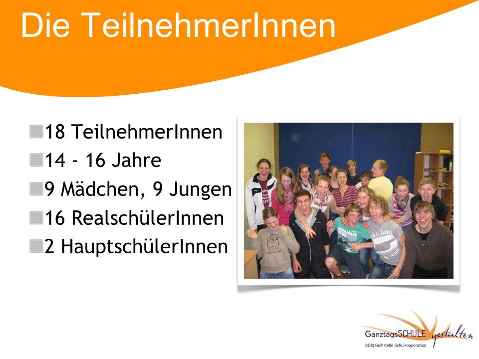 Die TeilnehmerInnen 18 TeilnehmerInnen 14 - 16 Jahre