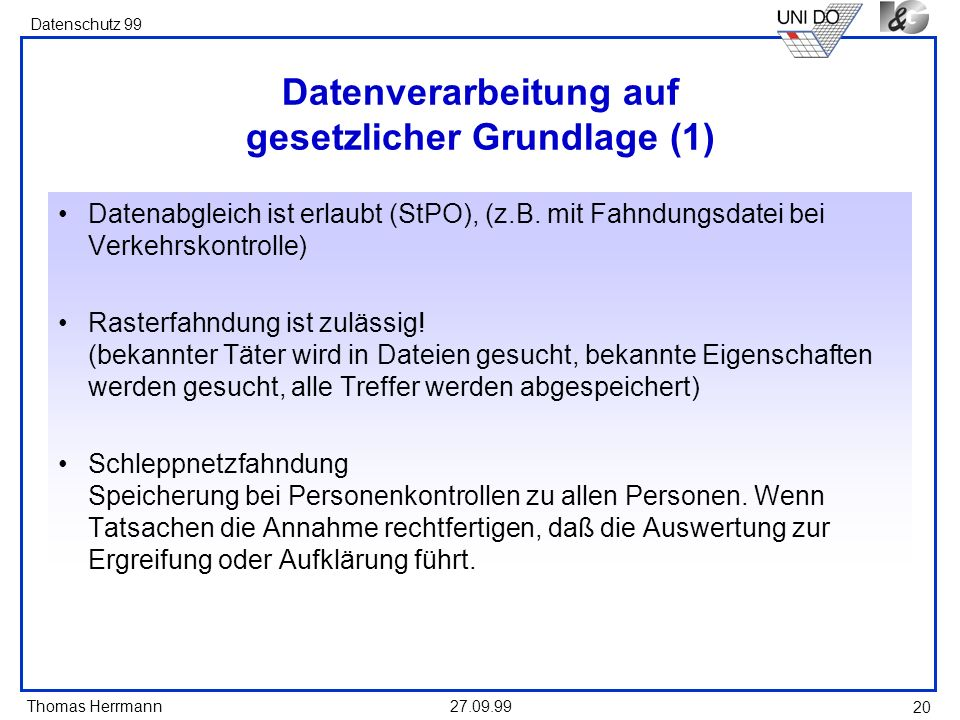 Datenverarbeitung auf gesetzlicher Grundlage (1)