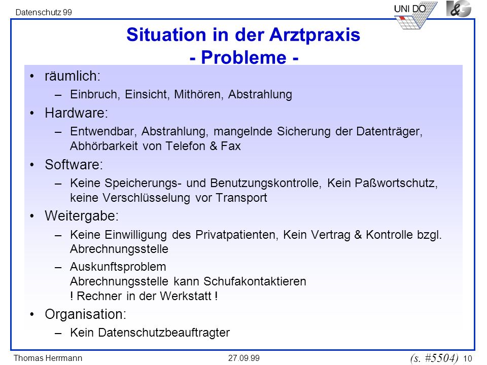 Situation in der Arztpraxis - Probleme -