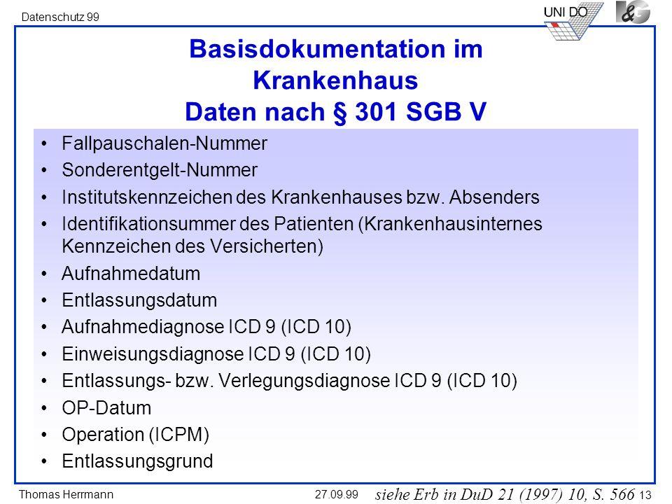 Basisdokumentation im Krankenhaus Daten nach § 301 SGB V