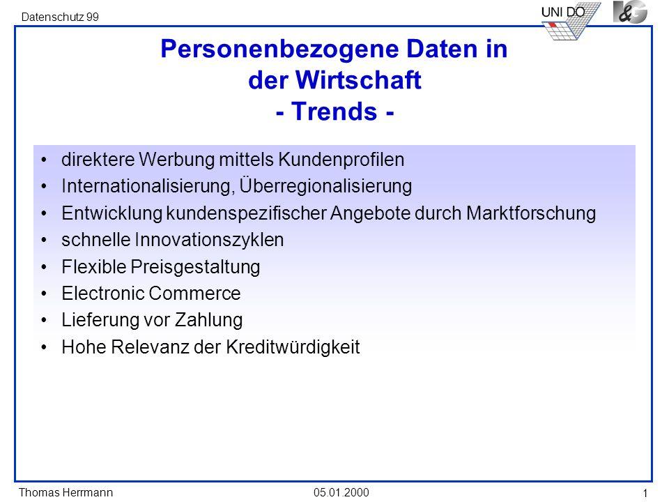 Personenbezogene Daten in der Wirtschaft - Trends -
