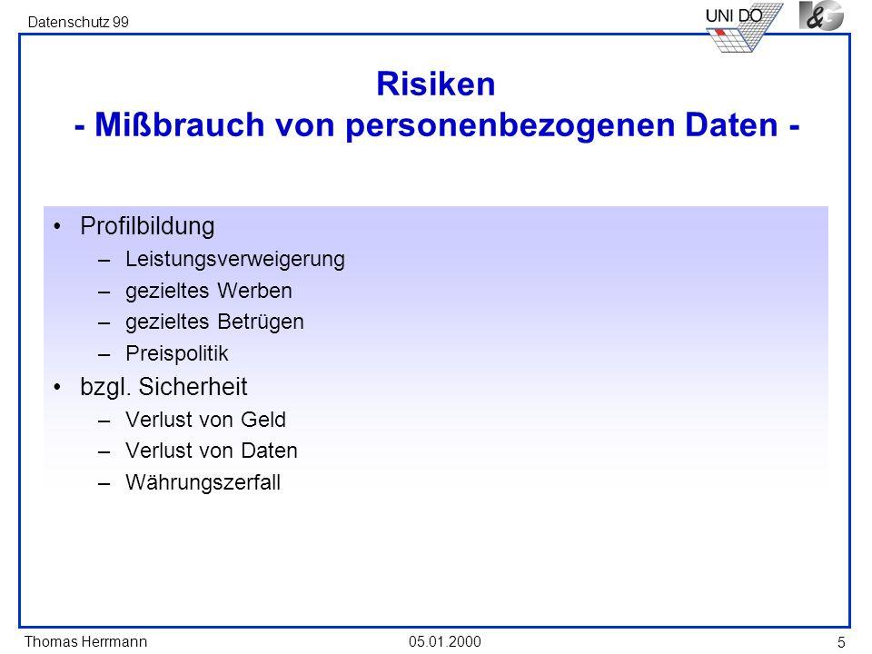 Risiken - Mißbrauch von personenbezogenen Daten -