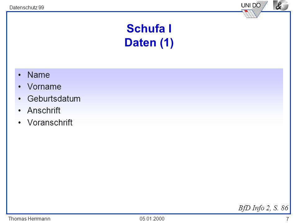 Schufa I Daten (1) Name Vorname Geburtsdatum Anschrift Voranschrift