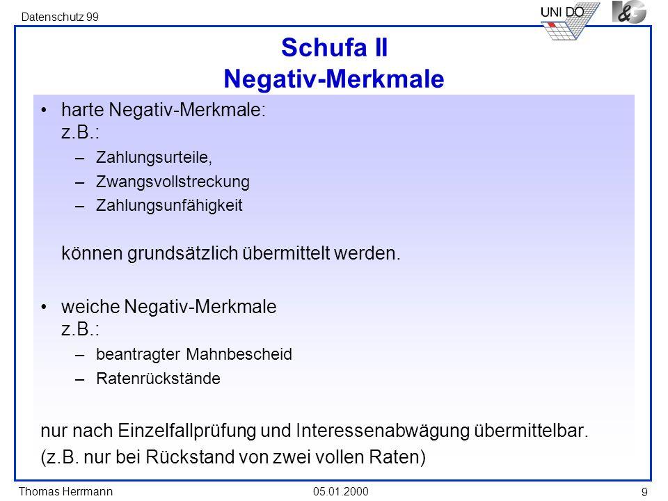 Schufa II Negativ-Merkmale