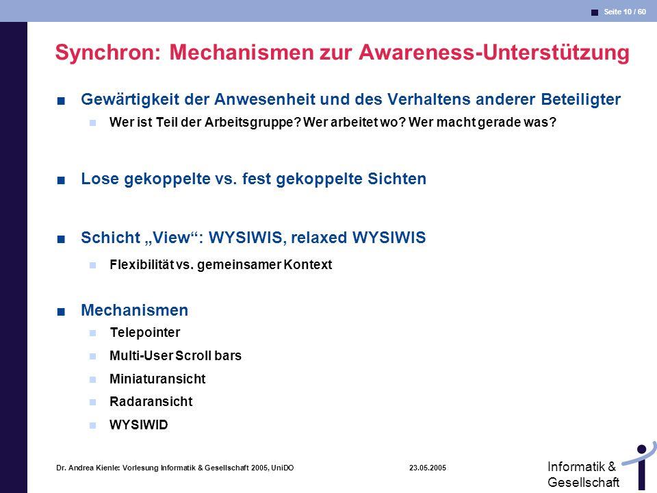 Synchron: Mechanismen zur Awareness-Unterstützung