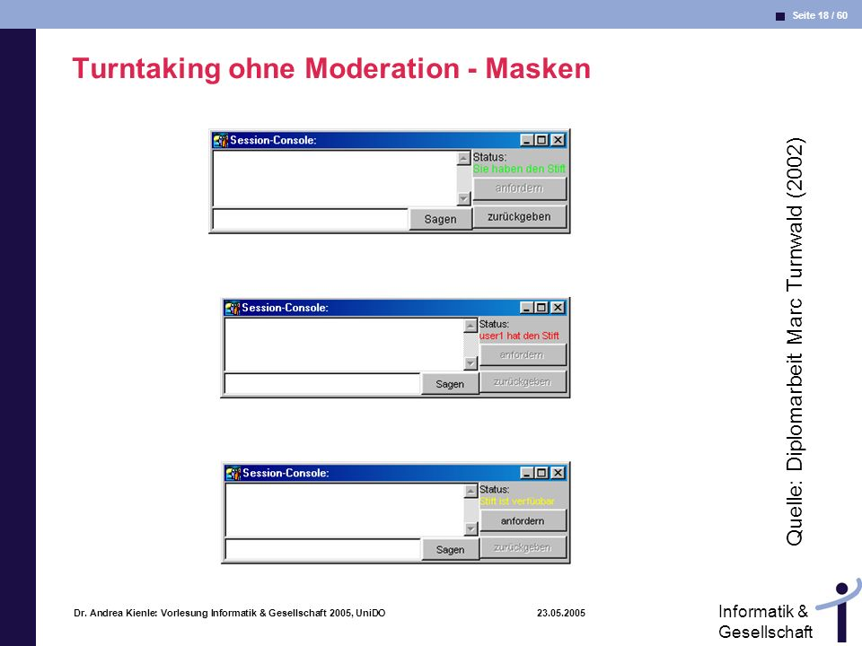 Turntaking ohne Moderation - Masken