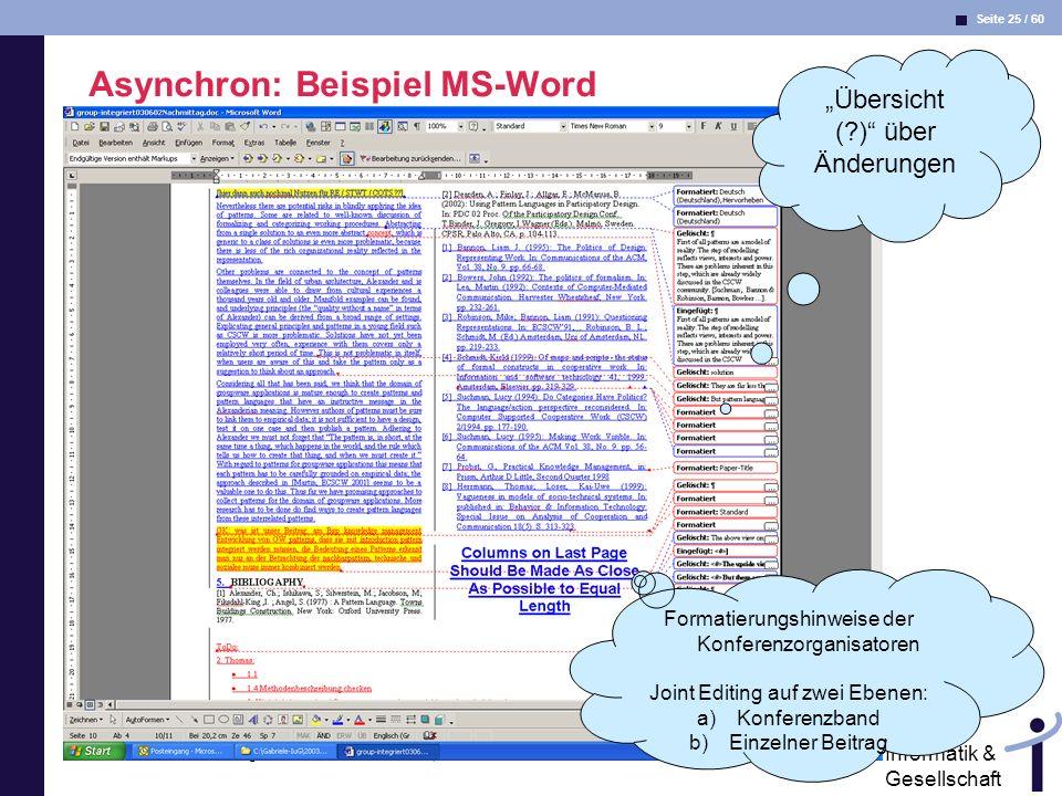 Asynchron: Beispiel MS-Word
